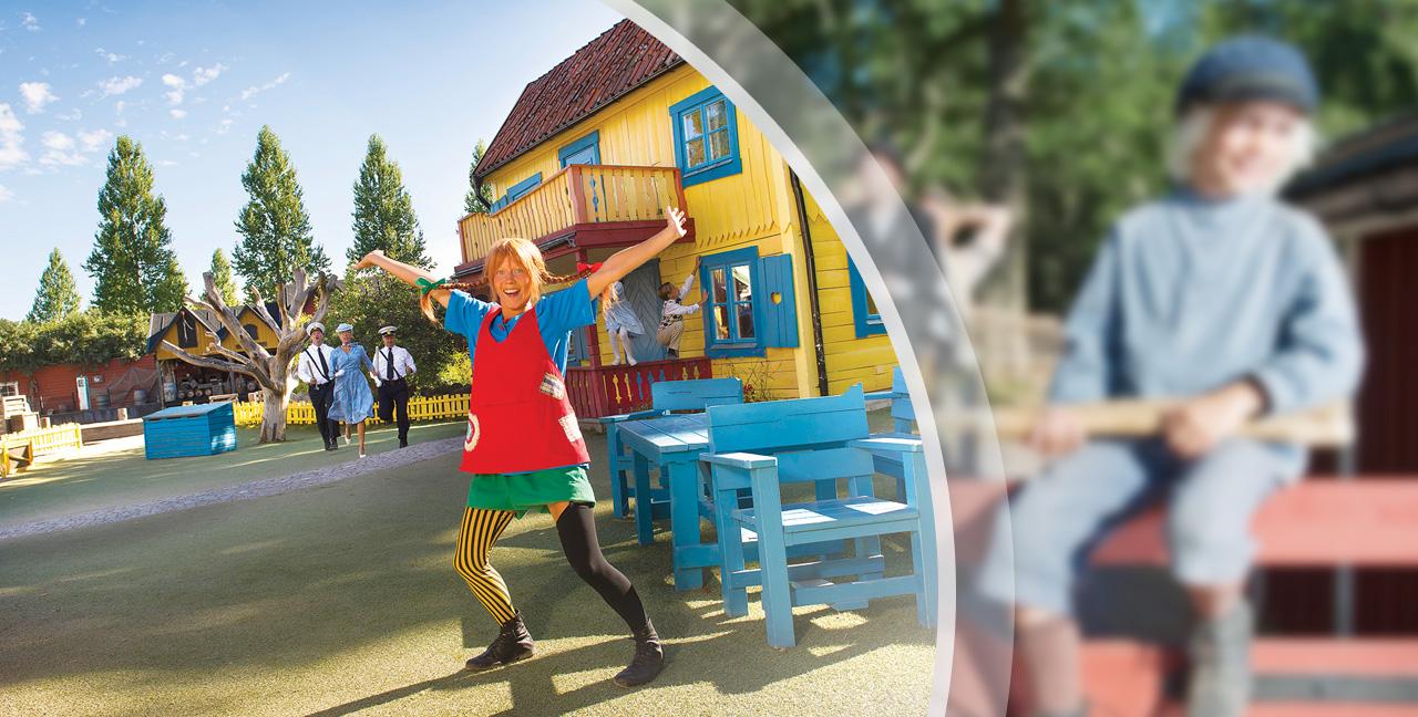 Astrid Lindgrens VerdenI Astrid Lindgrens fantastiske verden kan du opleve alle de kendte figurer fra de populære børnebøger: Besøg Pippi Langstrømpe, lav ballade med Emil fra Lønneberg og leg med Ronja Røverdatter. Åbningstider: Maj til og med september.
